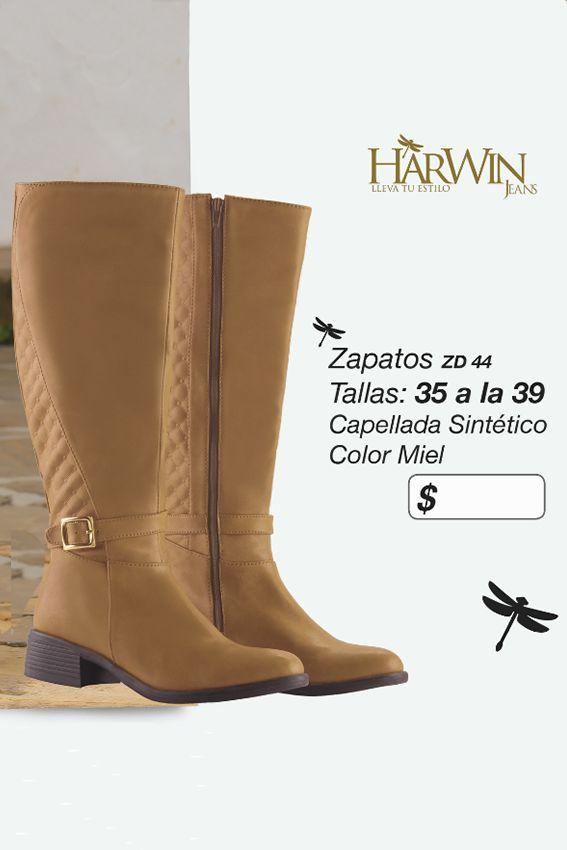 Hermosas botas con capellada sintética Referencia ZD44 Tallas de la 35 a la 39 Color: miel Precio: $115.000