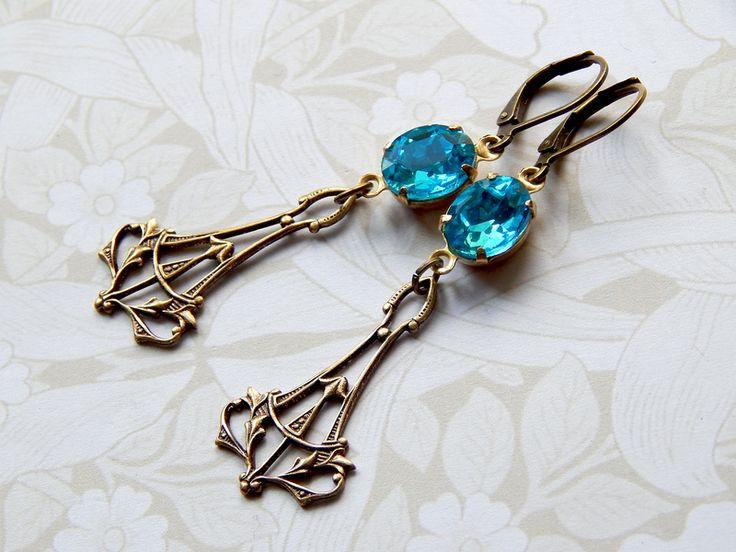 Jugendstil-Ohrringe *AQUAMARIN* mit Glasjuwelen von Nymphéa Design auf DaWanda.com