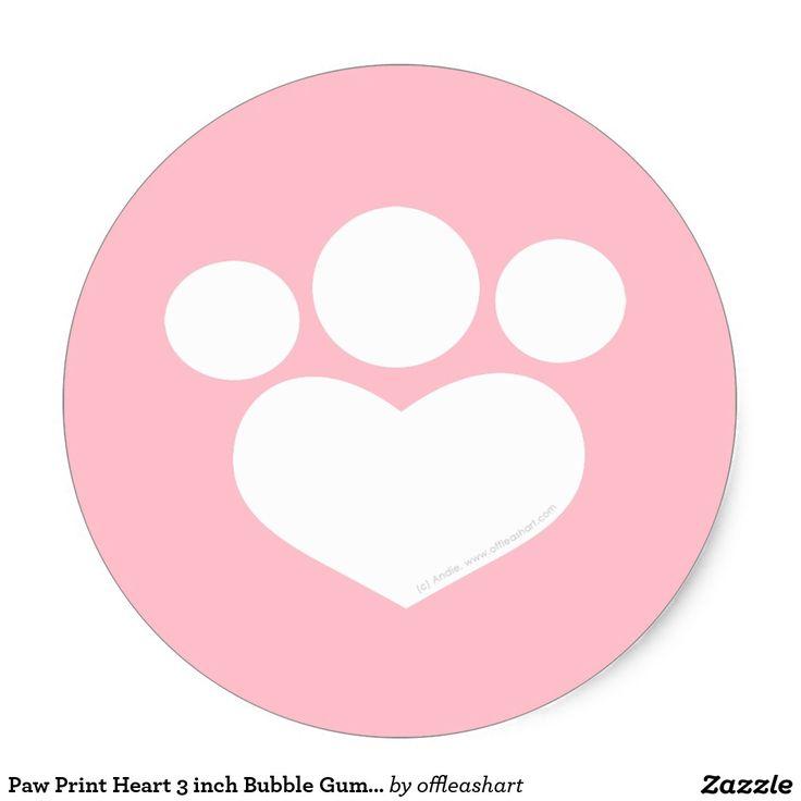 Coração do impressão da pata rosa da pastilha adesivo
