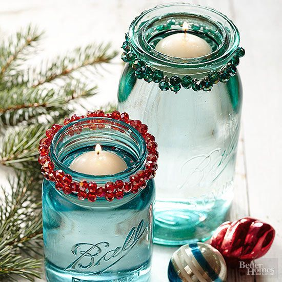 Holiday bracelets make easy embellishments for Mason jar candleholders. Simply wrap the bangles around the rims to add a dash of holiday charm. Then fill the jars with water and float a tea-light candle in each.