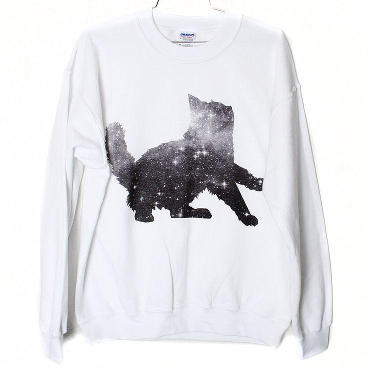 Galaxy Cat Sweatshirt Select Size by BurgerAndFriends on Etsy, $26.00