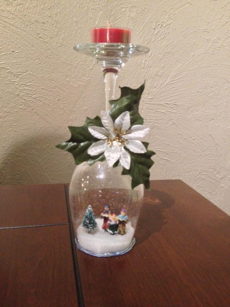 Wine glass snow globe. Christmas holiday decor.