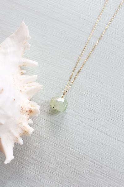 This chunky prehnite nugget necklace has been lovingly hand crafted with wild spirited, adventure-seekers in mind