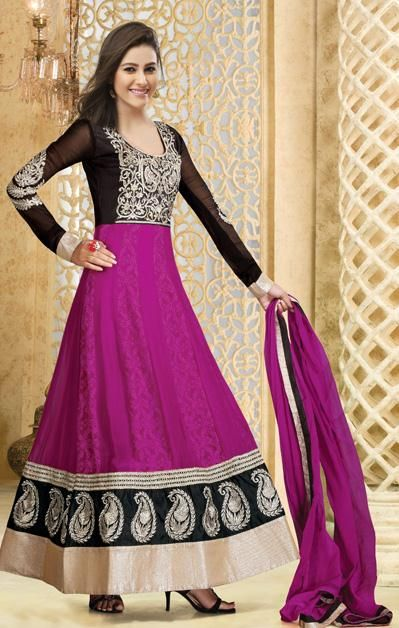 USD 77.71 Black and Pink Faux Georgette Embroidery Long Anarkali Salwar Suit 30586