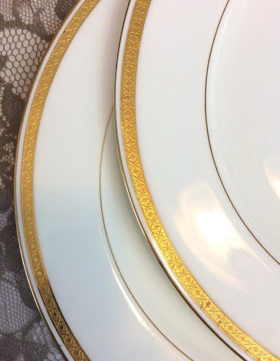 Minton Dinner Plates Set Of 6 White Gold Encrusted Rim Dinner Plate Sets Dinner Plates Gold Encrusted White and gold dinner plates
