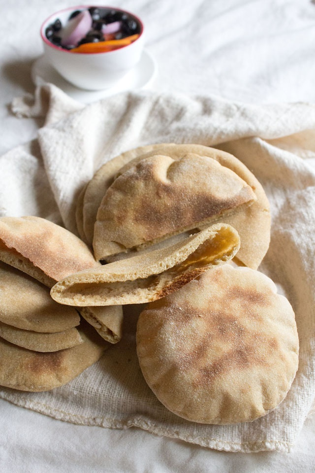 the best whole wheat pita bread – two ways, stove top & oven method plus a step by step