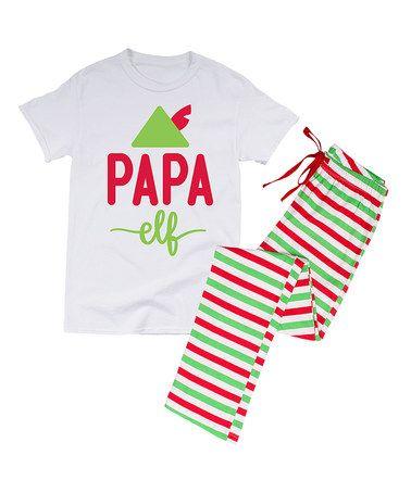 Look at this #zulilyfind! White & Red 'Papa Elf' Pajama Set - Men's Regular #zulilyfinds