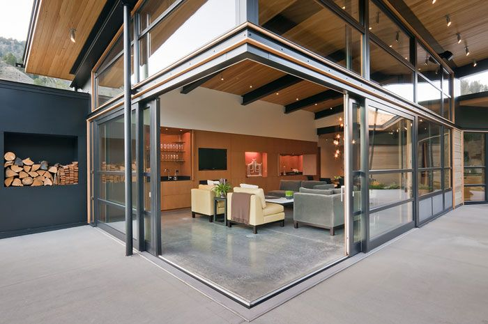 Concrete Floor Color, Nana wall and Wood Ceiling - Balance Associates, Architects.