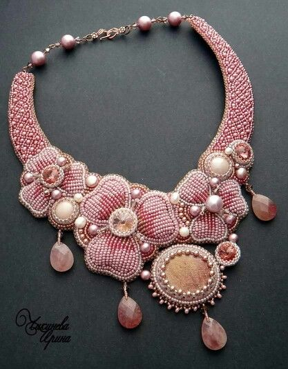 embroidered necklace done in seed beads, rivolis, and cabs