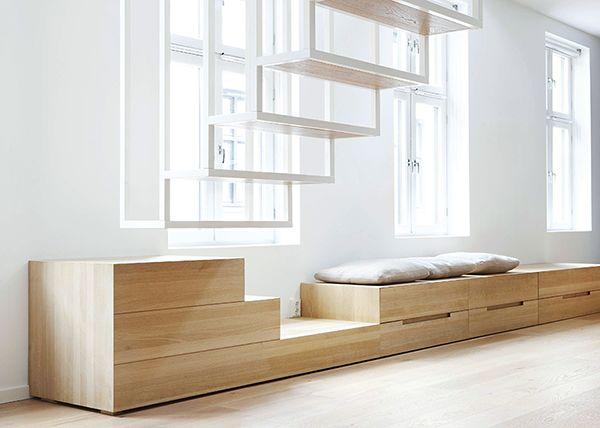 REF / COFFRAGE SOUS BAIE / rangement tiroirs + marches et assise // Apartment at Idunsgate, Oslo | Haptic Architects