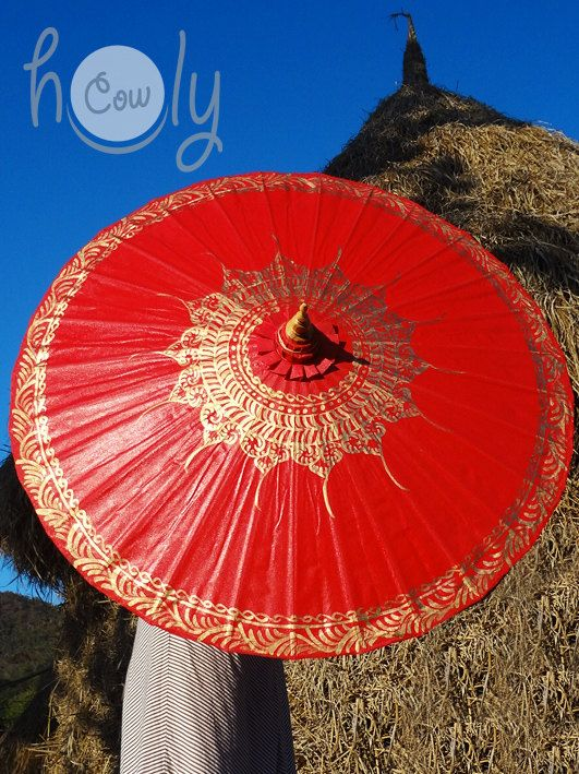 Beautiful handmade and hand painted waterproof cotton canvas parasol/umbrella with bamboo frame.