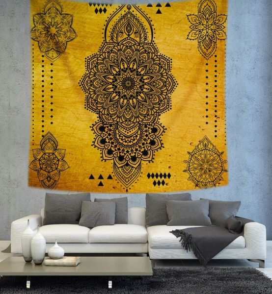 Yellow Mandala tapestry Psychedelic Tapestry by Christinedecorshop