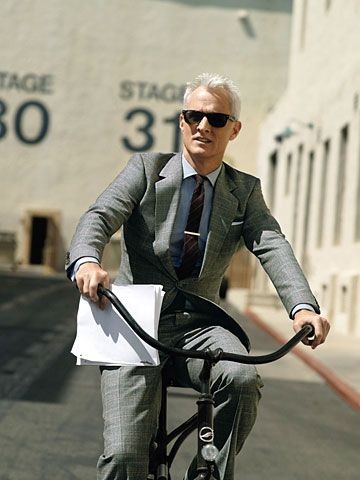 Roger Sterling on a bicycle.: Men Clothing, Gifts Cards, Men Style, Madmen, This Men, John Slatteri, Silver Foxes, Mad Men, Rogers Sterling