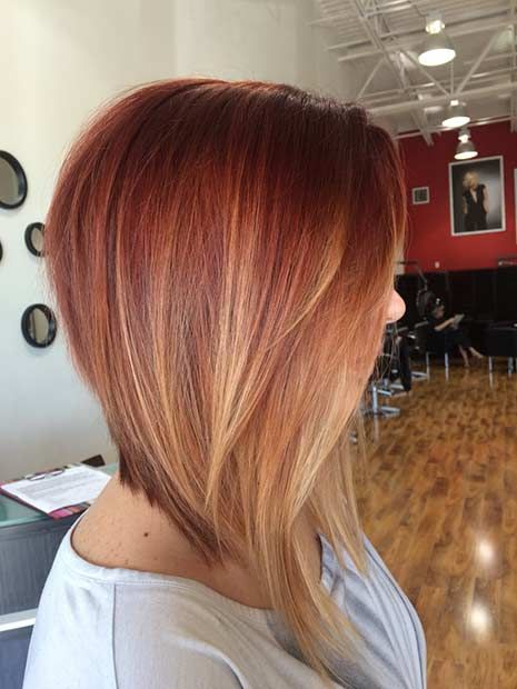 Copper Inverted Lob with Blonde Balayage Highlights