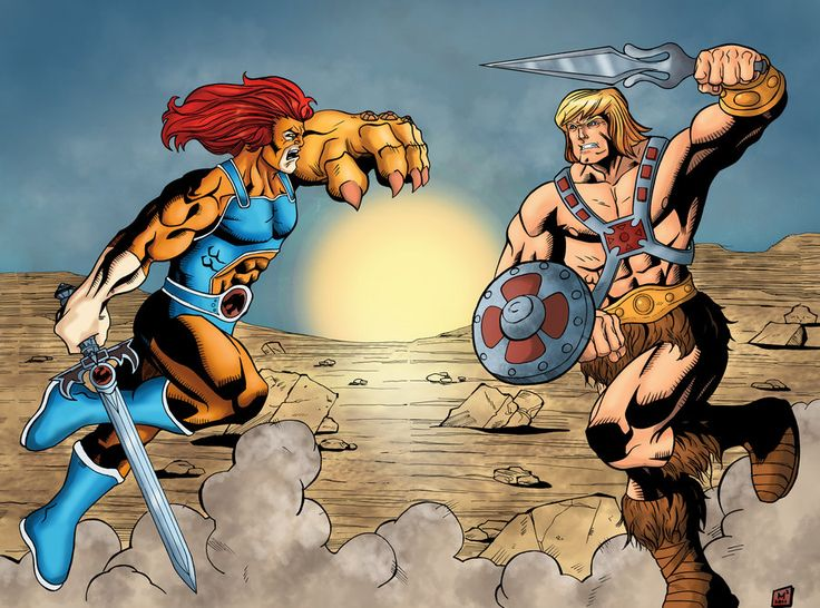 Drawn on Bristol Board with Brush and Ink and coloured in Lion-O vs HeMan