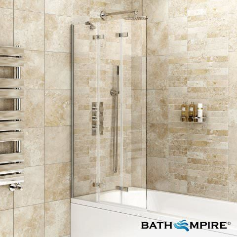 800mm EasyClean 3 Panel Folding Bath Screen - Finest Range - BathEmpire
