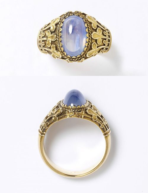 William Burges, Sapphire ring, circa.1870... Would love to have something like this.  Reminds me a little of a class ring.  But prettier.