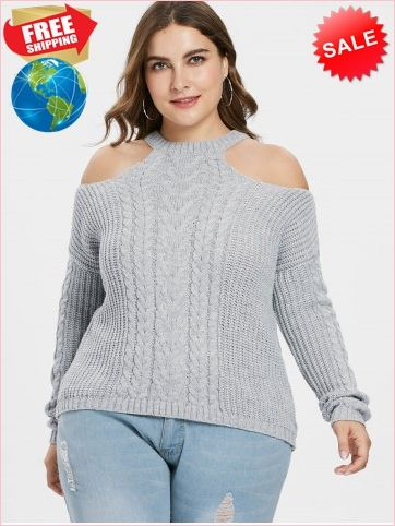 Open Shoulder Plus Size Chunky Sweater Plus Size Outerwear