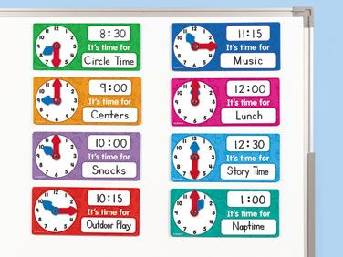 magnetic scheduling clocks set of 8 at lakeshore learning a