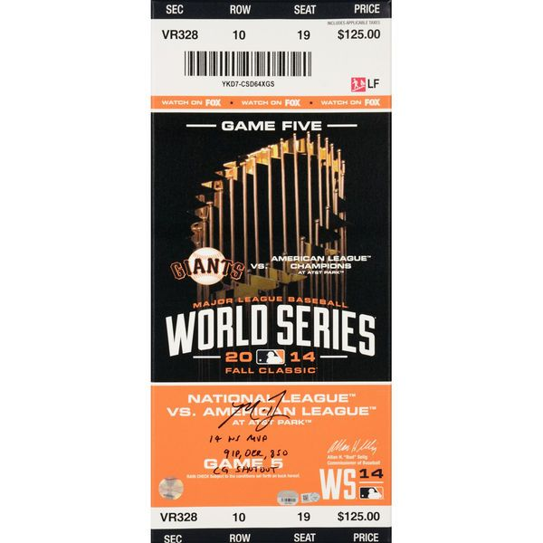 Madison Bumgarner San Francisco Giants Fanatics Authentic Autographed 2014 World Series Game 5 Mega Ticket With Multiple Inscriptions - $599.99