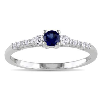 Lab-Created Blue and White Sapphire Promise Ring in Sterling Silver with Diamond Accents - Zales