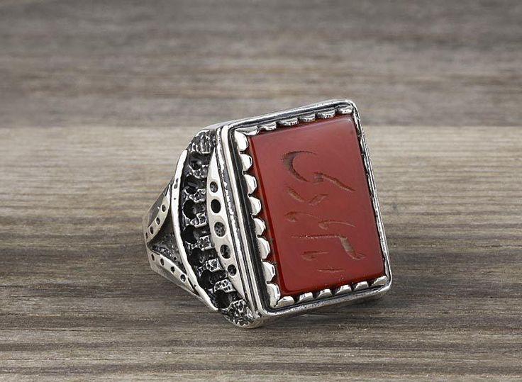 925 K Sterling Silver Man Ring Red Agate Gemstone 46.96$