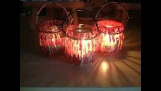 Драматические светильники на Хэллоуин, сделанные с помощью банки и горячего воска за пару минут