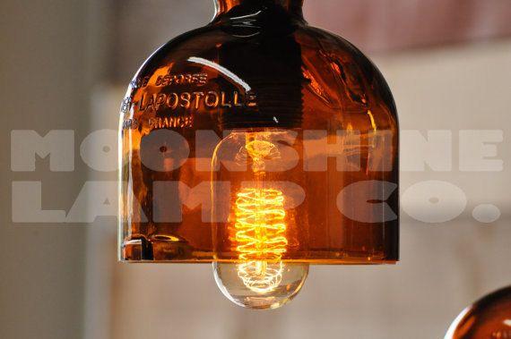 Recycled bottle whiskey wine gran marnier liquor hanging