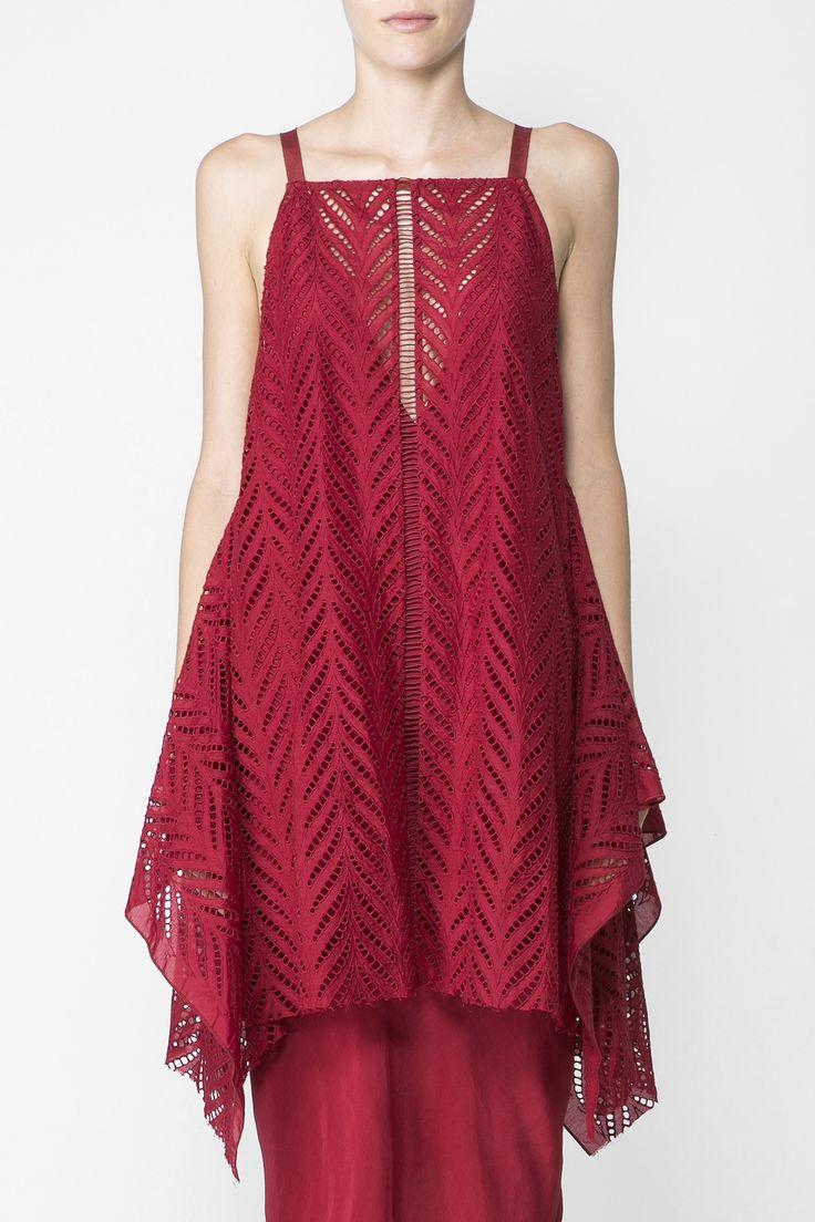 Acler - Langford Asymmetrical Hem Lace Top In Crimson