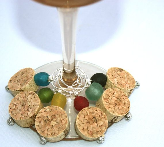 For Bridal Shower...Cork Wine Charms with Recycled Glass Beads in by DrinkstoDesign, $12.00