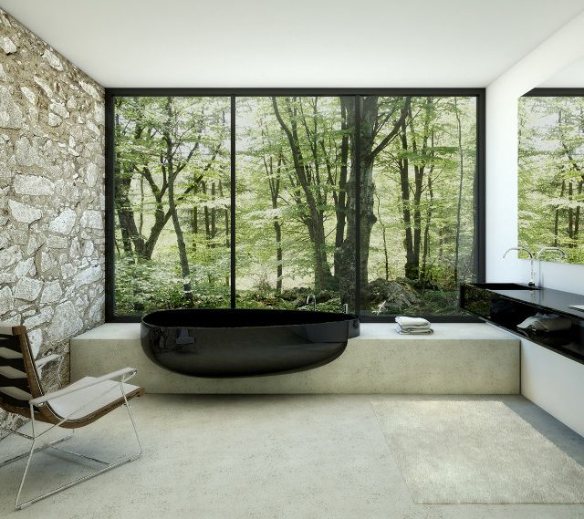 Modern bathroom awesomeness. I love the glossy black tub and that view of the woods!: Bathroom Design, Bath Tubs, Modern Bathroom, Stones Wall, The View, Bathtubs, Interiors Design, Bathroom Ideas, House