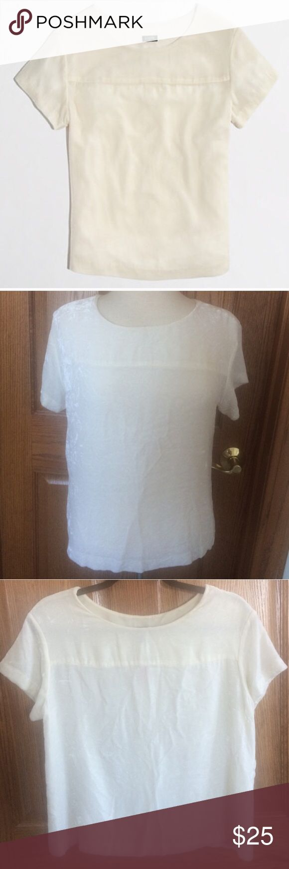 🎉J.Crew Velvet Tee Shirt Cream White Loose Small 🎉SALE J.Crew Velvet Tee Shirt Size Small White Cream Color Soft Loose fit Short sleeves Rayon/Silk  Our designers' newest take on velvet is as wardrobe friendly as is plush. Crafted in easy-to-wear tee shape, always-festive velvet hits all the right notes, whether you're dressing for day (we're loving it with jeans) or an evening In very good condition                                    Please ask any questions  💲Open To Offers💲 🚫No…