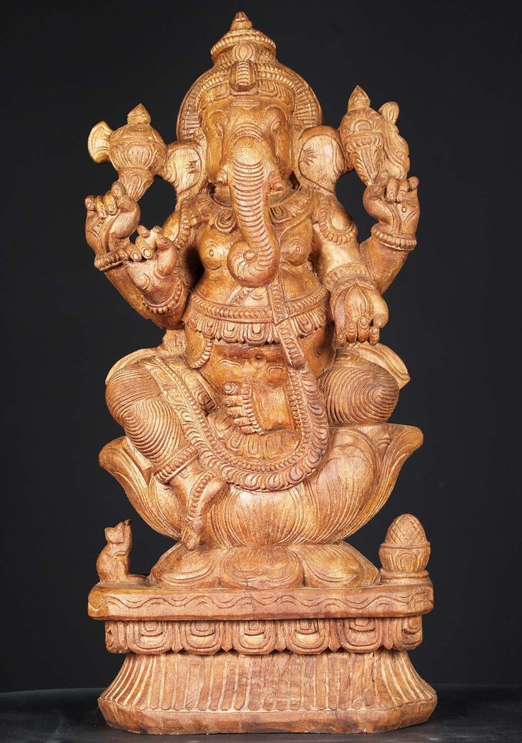 "View the Natural Wood Ganesh Statue with Rat 24"" at Hindu Gods & Buddha Statues"