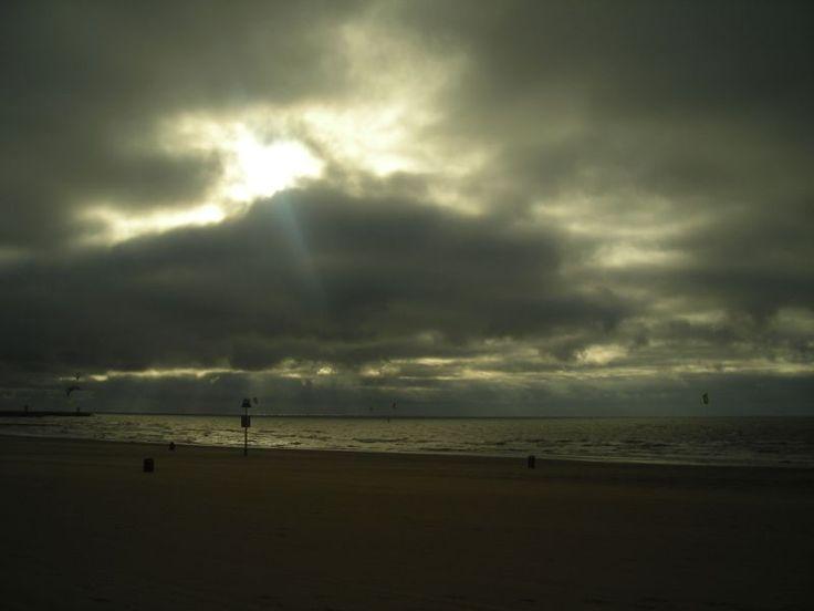 North Sea. A stormy evening on the beach in Scheveningen (The Hague, Netherlands).