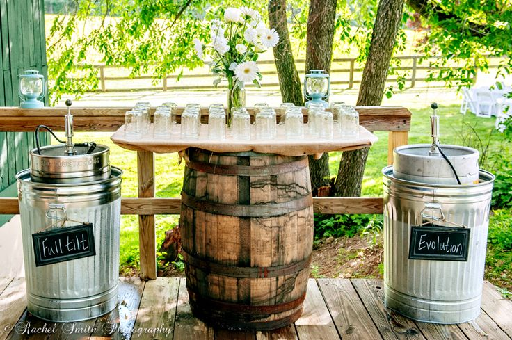 Wedding Kegs of Full Tilt and Evolution, Rustic Farm Wedding with Wine Barrel Table