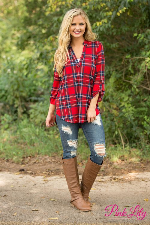 This beautiful plaid tunic is calling your name - we know you're going to love wearing this all day long!