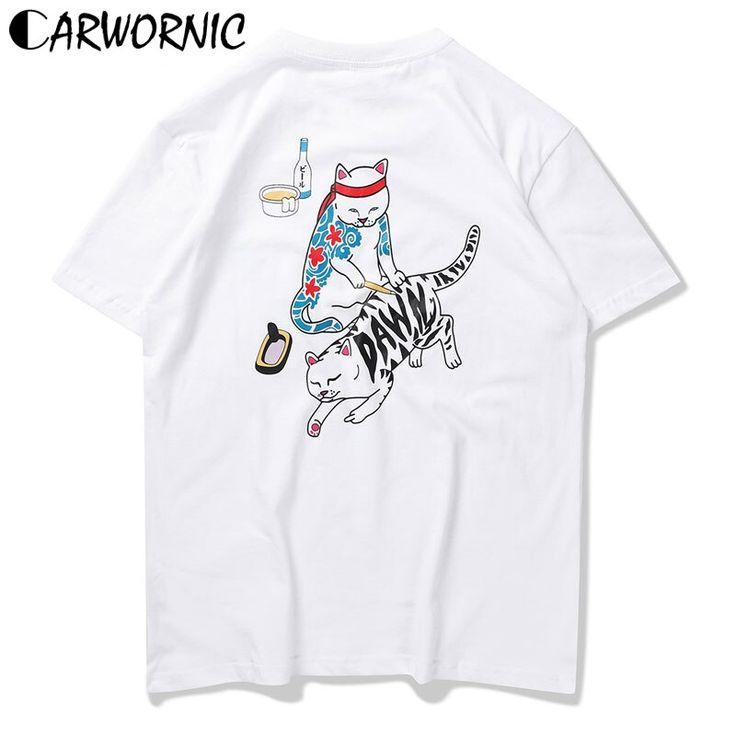 CARWORNIC Japan Ukiyo Tattoo Cat T Shirts Men Japanese Harajuku Funny Printed T-…   – Men fashion