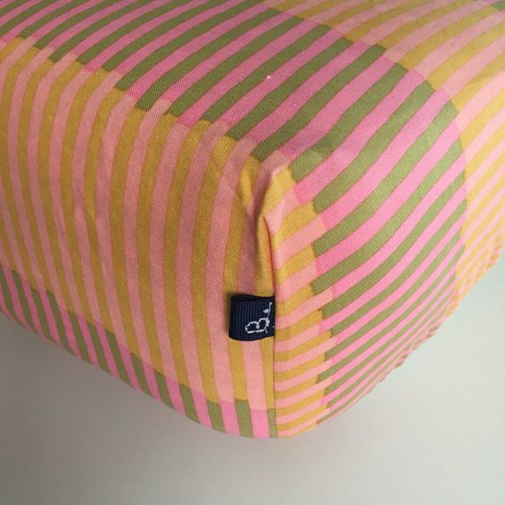 FITTED CRIB SHEET   Orange and Pink Stripes  100% by Beakyriboo