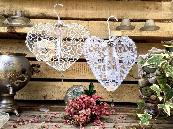 Shabby chic wedding decor.French cottage chic hearts.Wedding wreath.Hanging wire…