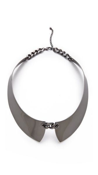 "This season's new statement ""necklace,"" removable collars. Think of the style options with this cool new fall fashion ""must have"" accessory. Adia Kibur Hematite Collar"
