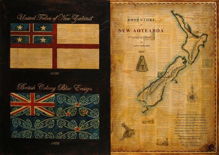 Titile: Adventure in New Aotearoa Size: 70cm x 100cm Medium: Ink, watercolour, gouache, shellac, paper on canvas. Year: 2007