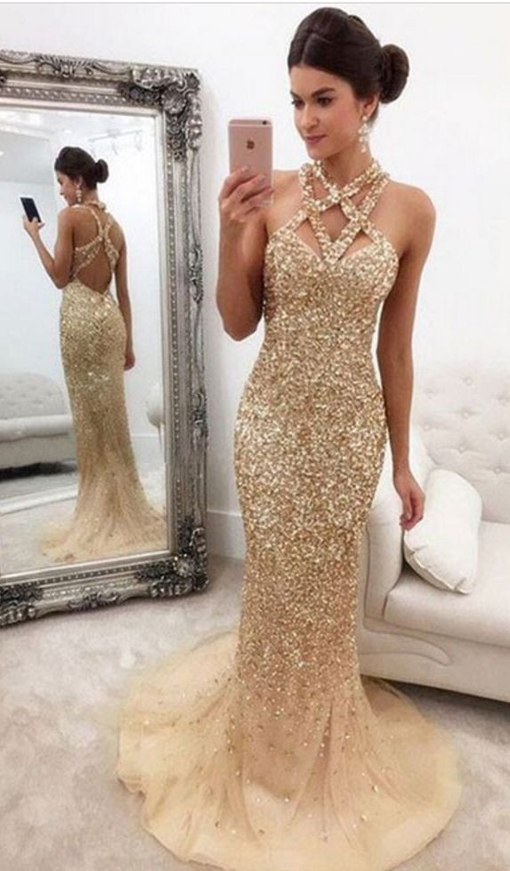 Mermaid Straps Sweep Train Open Back Champagne Sequined Prom Dress ... 7a40a19849ba