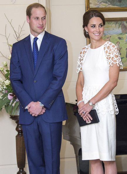 Prince William, Duke of Cambridge and Catherine, Duchess of Cambridge attend a reception hosted by the Governor General Peter Cosgrove and Her excellency Lady Cosgrove at Government House