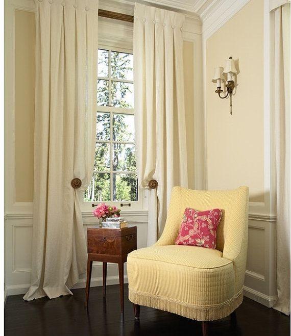 Sold per panel designer custom made linen drapes inverted - Off white curtains for living room ...