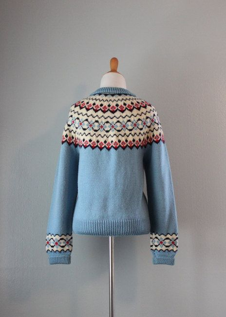 Vintage Cardigan / 1960s Fair Isle Sweater / 60s by HolliePoint
