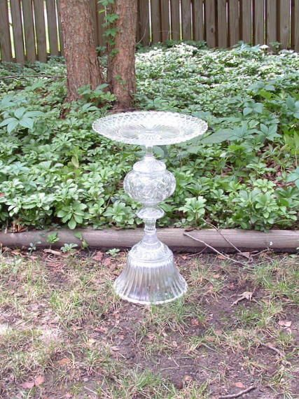 """Tall, elegant, sophisticated, and gracious bird bath.  """"The Marissa"""" is garden art sculpture made with repurposed glass.  Upcycled art.. $119.00, via Etsy."""