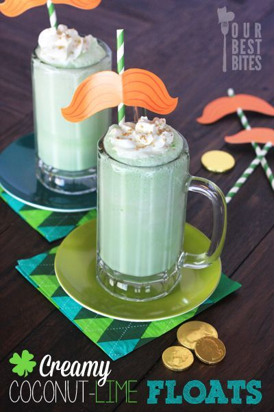 Slushy Coconut Lime Floats from Our Best Bites, great for St. Patty's!