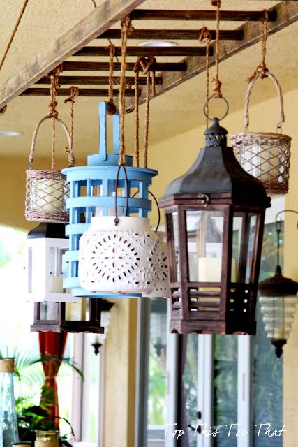 Lanterns hung from a hanging ladder LOVE :-)