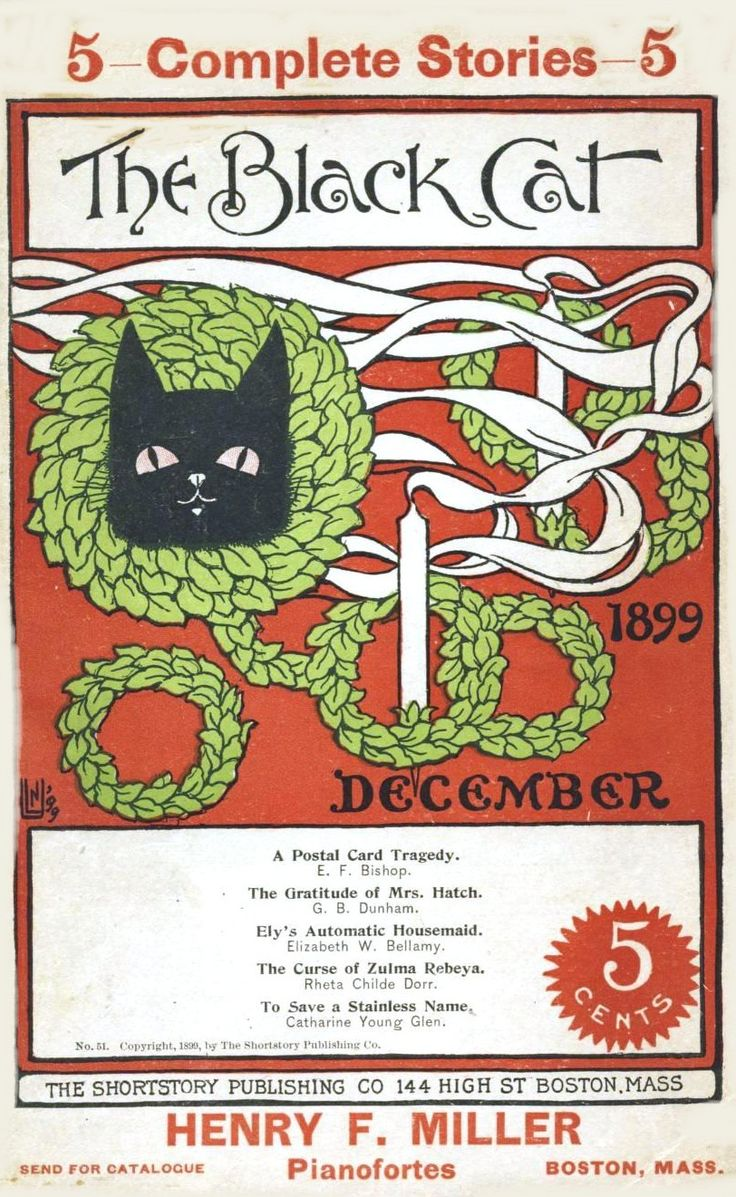 The Black Cat magazine cover, December 1899. (vintageprintable.com)