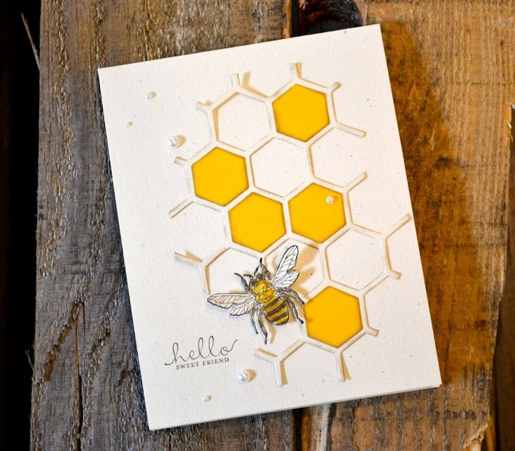 What a beautiful card made with the Hexagon Hive thinlit.: Beautiful Cards, Feb Fb, Cards Ideas, Hello Sweet, Friends Cards, Bees Cards, Honeycombs Cards, Sweet Friends, Hexagons Cards